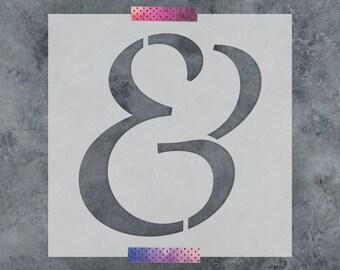 Ampersand Script Stencil - Reusable DIY Craft Stencils of a Script Ampersand Symbol