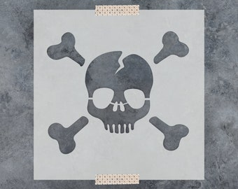 Skull and Cross Bones Stencil - Reusable DIY Craft Stencils of a Skull and Cross Bones