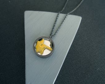 Oxidised Recovery Pendant. Recycled silver encloses broken mirror, repaired in the Kintsugi style. beautiful Healing gift.