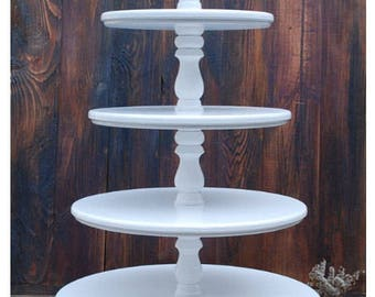 5-tiered white wedding cake stand