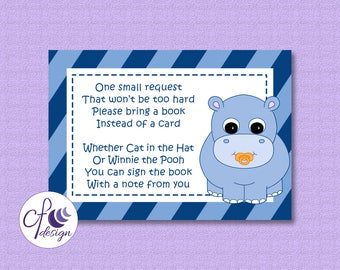Baby Shower Book Request - Blue Hippo