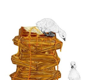 Duck and Waffle Print