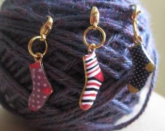 Sock Progress Keeper / Knitting / Crochet/ Charm / Metal Zipper Pull