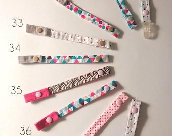 Mini Mouss fabrics to choose pacifier clip