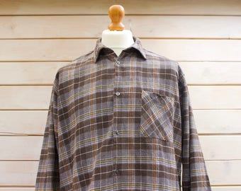Vintage Long Sleeved Checked Flannel Shirt  Size - Extra Large