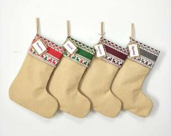 Personalized Christmas Stocking, Large Burlap Stocking, Customized Christmas Stocking, Family Christmas Stocking.