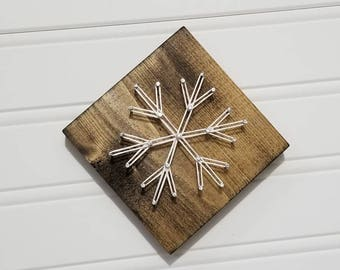 Mini String Art Snowflake, Winter String Art, Snowflake Decor, Winter Decor, Christmas Decor