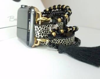 Apple Watch Band, Apple Watch Band 38mm, Apple Watch Band 42mm, Leather Watch Band with Black spots and stacked Beaded Bracelets & Tassel
