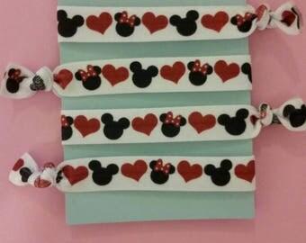 Set of 4 Mickey and Minnie elastic Hair ties