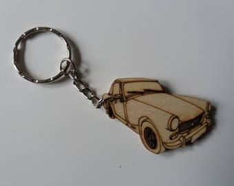 MG Midget (round wheel arch)  Keyring  Etched detail wooden