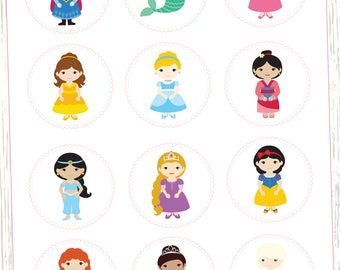 Disney Princess Cupcake Toppers, Disney Princess Birthday, Princess Decor, Cupcake toppers, Princess Party, Princess Birthday Party