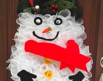 deco mesh snowman etsy