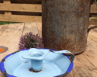Vintage Enamel Blue Candle Holder