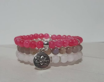 "Pink ""Lotus"" Stack - rose quartz - pink jade - mothers day - 6.75"" - lotus flower bracelet - grey agate - bracelet stack"