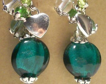 SILVER FOIL GLASS BEAD EARRINGS