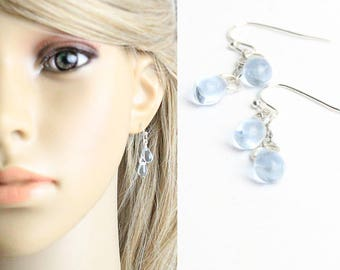 silver earrings blue jewelry water earrings casual jewelry fashion girlfriend gift daughter hook earrings casual earrings celestial w13