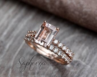 Emerald Cut Morganite Engagement Ring/Band Set in 14k Rose Gold,9x7mm Emerald Cut Morganite Wedding Ring,Diamond Bridal Set by Sapheena