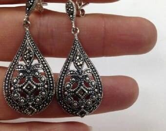 Vintage Style Earrings, Drop Down Sterling Silver Earrings, Vintage Art Deco Style Earrings