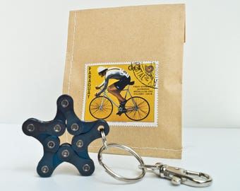 Upcycling Bike Keychain Pendant  Star Metallic