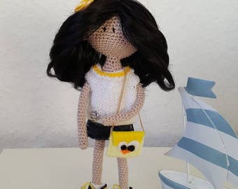 crochet doll, girl doll, amigurumi doll