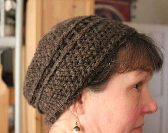 Crocheted hat, made from handspun cormo lamb single ply yarn