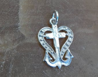 valentines day gift sale Pendant cross heart anchor three in one,a symbol of hope, silver 925