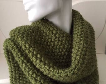 Forest Green Winter Hand Knit Scarf