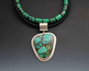 Turquoise Sterling Silver Statement with Black Silk Cord Choker