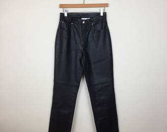 Vintage Leather Pants Size 26, 90s Leather Pants, Black Leather Pants Small