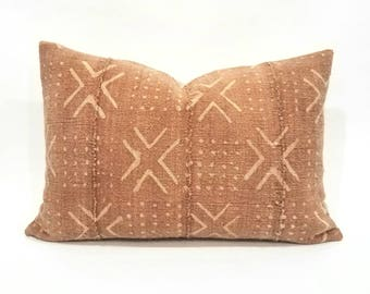 "14"" x 20"" Rust african mudcloth pillow cover"