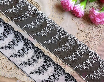 Vintage Mesh Embroidery Flower Lace Trim 2.08 Inches Wide 1.09 Yard/ Craft Supplies, WL1727