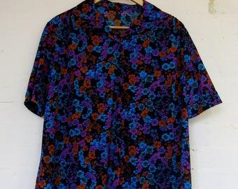 Vintage sheer floral shirt - size 16/18
