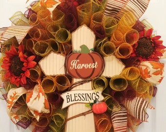 Harvest blessings wreath, Fall Wreath, Autumn Wreath, Thanksgiving wreath, Fall mesh wreath, Fall leaves wreath, Fall door decor