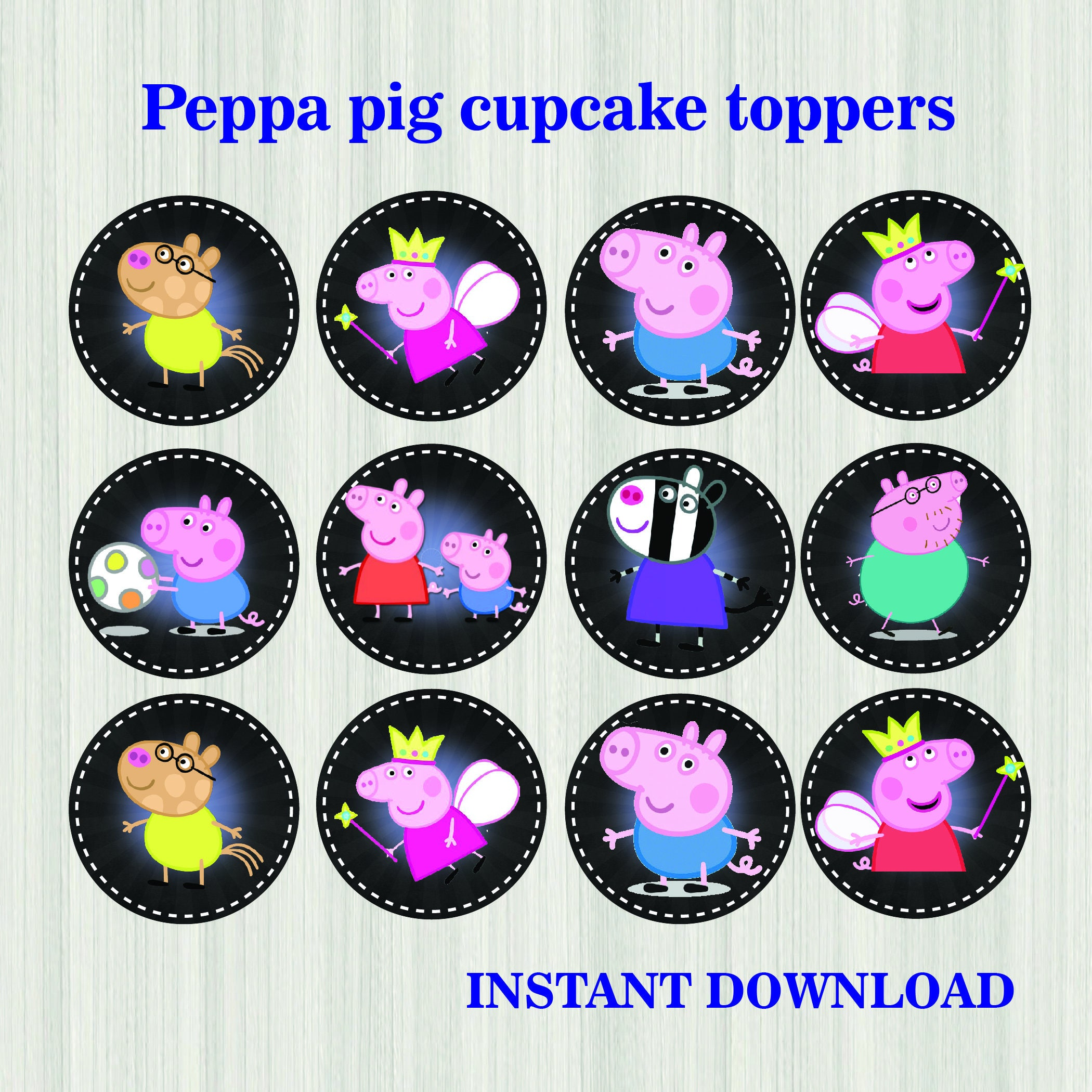 Peppa Pig cupcake Toppers Peppa Pig birthday Cake Toppers