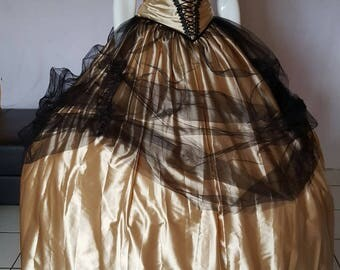 Gold and black crinoline dress