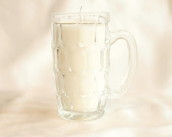 Beer cup from glass with soy candle