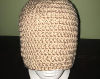 Adult size beige ponytail messy bun hat