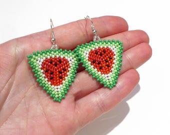 Watermelon earrings Beaded earrings Dangle earrings Seed bead earring Fruit earrings Boho Multicolor earrings Summer outdoors Summer party