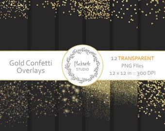 Gold Confetti Digital Overlays, Transparent Gold Confetti Clipart, Scrapbook paper, Gold Confetti Pattern overlays PNG, Digital papers