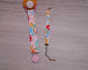 Pacifier in multicolored cotton flowers and bracelet for MOM