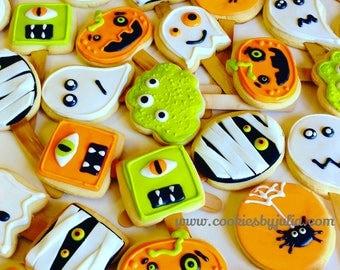Halloween cookies/monsters/halloween/Cute monsters/halloween/suagr cookies/halloween decor/gifts