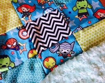 super hero kawaii mini blanket lovie quilt