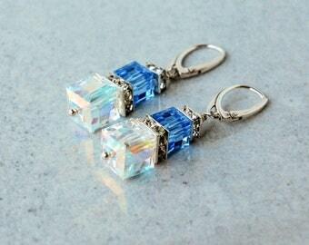 Glass earrings, Drop and dangle earrings, Blue earrings, Crystal earrings, Silver earrings, Cube earrings, Clear earrings