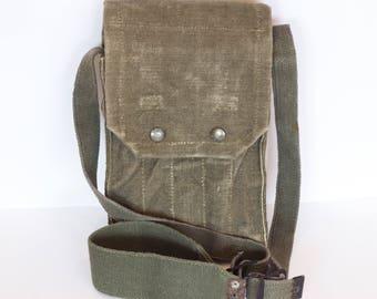 Vintage Canvas Messenger bag, Military Shoulder Bag, Army Canvas Shoulder Bag, Military Shoulder Bag, Canvas Cross Body Bag from 1980's