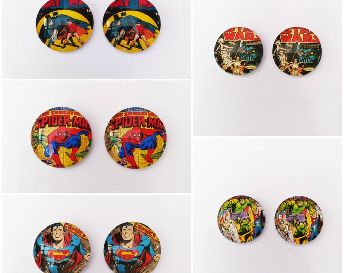 The 'Comic Book' Glass Earring Studs