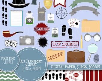 Spy Clipart Set, secret agent themed 30 PNGs, 5 detective Digital Paper JPGs, Commercial Use, top secret clipart, secret agent clip art pngs