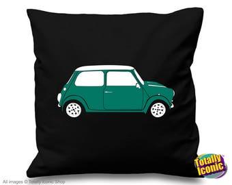 Turquoise Mini Cooper Pillow Cushion Cover - Classic Mini Car