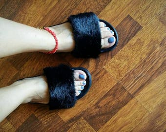 Slides, Summer sandals, Fluffy slides, Faux fur slides, Fashion slippers, Flat sandals, Black slippers, Handmade women summer shoes!