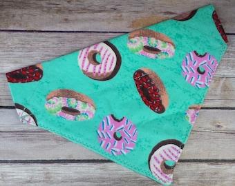 Donut Dog Bandana / Food Cat Bandana / Aqua Dog Bandana / Dog Scarf / Over the Collar / Dog Lover Gift / Pet Accessories / Pet Scarf