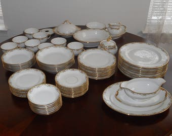Antique Limoges France Dinner Dishes Service for 8 by Vignaud in the Pink MEUSE Pattern